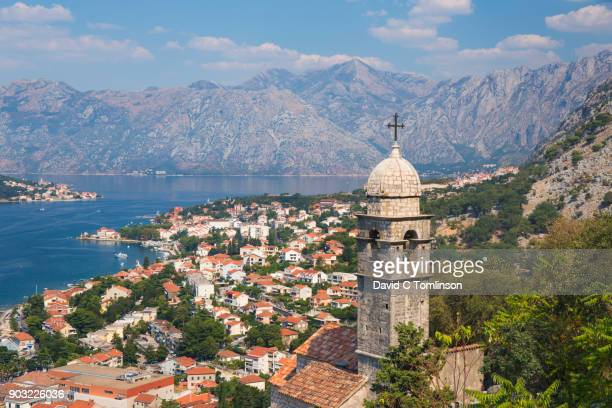 view over the bay of kotor from the town walls, kotor, montenegro - montenegro bildbanksfoton och bilder
