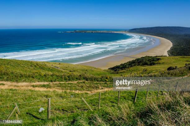 view over the beautiful tautuku bay, the catlins, south island, new zealand - península fotografías e imágenes de stock