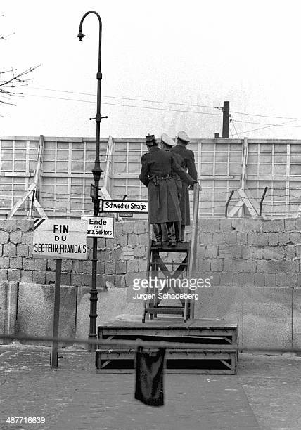 A view over the Berlin Wall from the French Sector on Schwedter Strasse Berlin Germany 1961