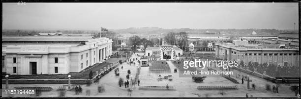 A view over the British Empire Exhibition at Wembley Park London 1924 On the left is the Australia pavilion The Canadian National Railways building...