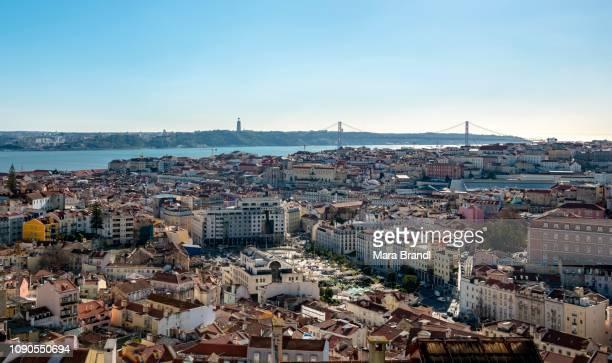 View over the city from Miradouro da Nossa Senhora do Monte, with Ponte 25 de Abril, Lisbon, Portugal