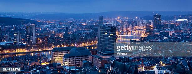 View over the city Liege and the river Meuse at dusk Belgium
