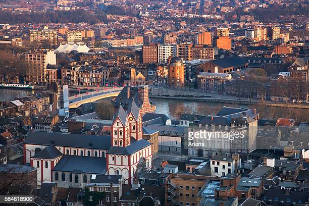 View over the city Liege and the St Bartholomew's Church Belgium
