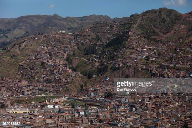 View over the city of Cusco from the Inca ruins of Sacsayhuaman on May 23, 2018 in Cusco, Peru. At 3701 meters above sea level the ancient site sits...