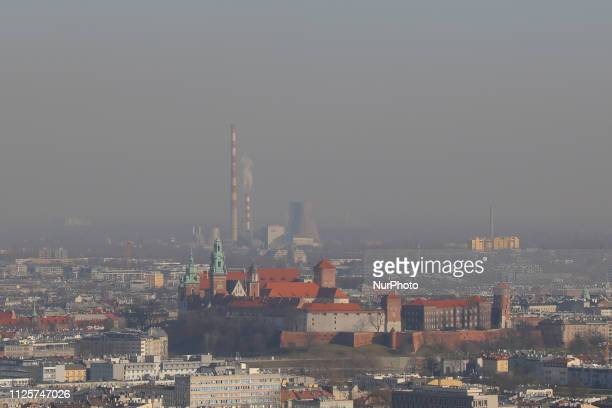 View over the city of Krakow and the Wawel Castle from Kosciuszko Mound during smog standards many times exceeded. On February 18, 2019.