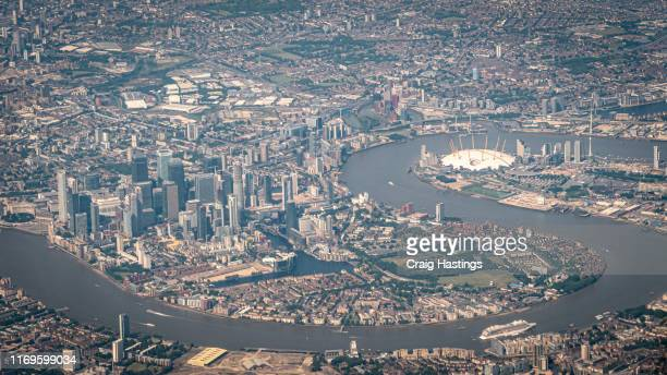 view over the city of london as passenger on plane taking off from london heathrow airport lhr - heathrow stock pictures, royalty-free photos & images