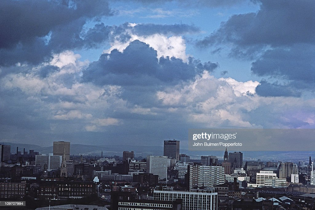A view over the city of Manchester, 1977.