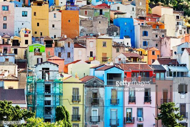 View over the colourful town of Bosa along the Temo river