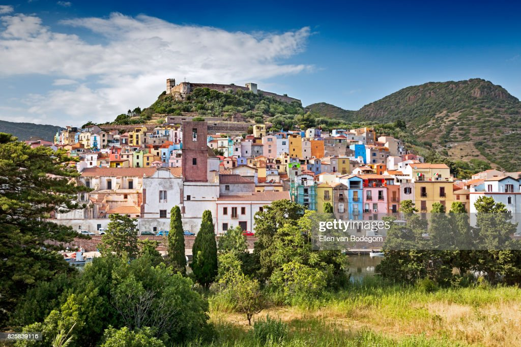 View over the colourful town of Bosa and its medieval castle along the Temo river : Stock-Foto