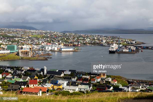 View over the country's capital Torshavn on August 23, 2018 in Torshavn, The Faroe Islands.