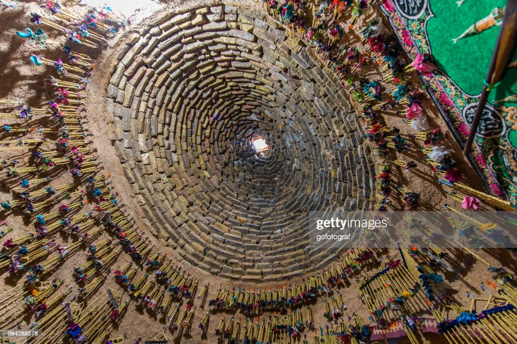 View over the dome of a traditional mud brick house from inside, in Harran, Sanliurfa, Turkey : Stock Photo