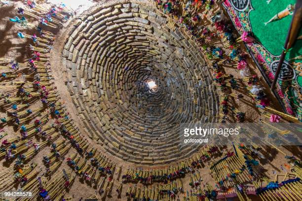 View over the dome of a traditional mud brick house from inside, in Harran, Sanliurfa, Turkey