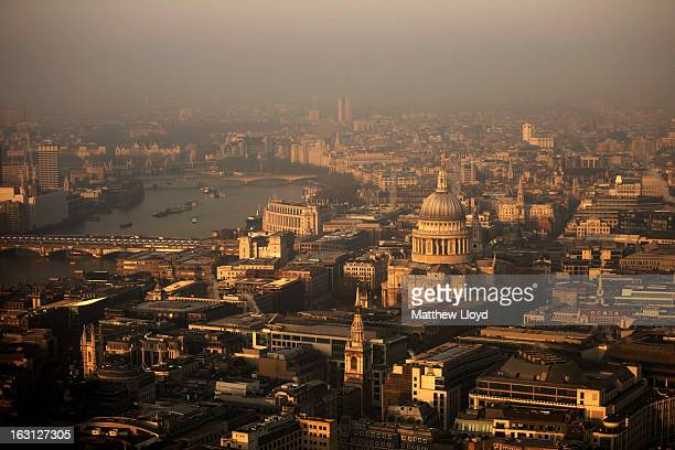A view over the financial district and St Paul's Cathedral towards the west of the city at sunrise on March 5 2013 in London England The recent...