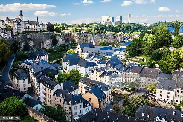View over the Grund towards the medieval Ville Haute on the left and the modern Kirchberg district of Luxembourg City