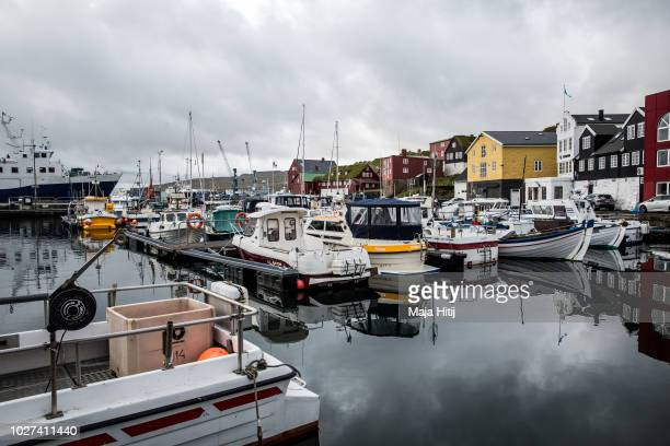 View over the harbour and government buildings at the background on September 05, 2018 in Torshavn, The Faroe Islands. The Faroe Islands, situated...