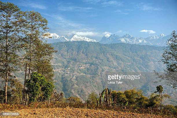 View over the Himalayas and Kanchenjunga the world's third highest mountain from Shakti Himalaya's home stay in the village of Hee in Sikkim India