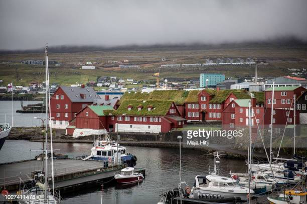 View over the historical government quarter at the small and rocky Tinganes peninsula on September 05, 2018 in Torshavn, The Faroe Islands. Many of...
