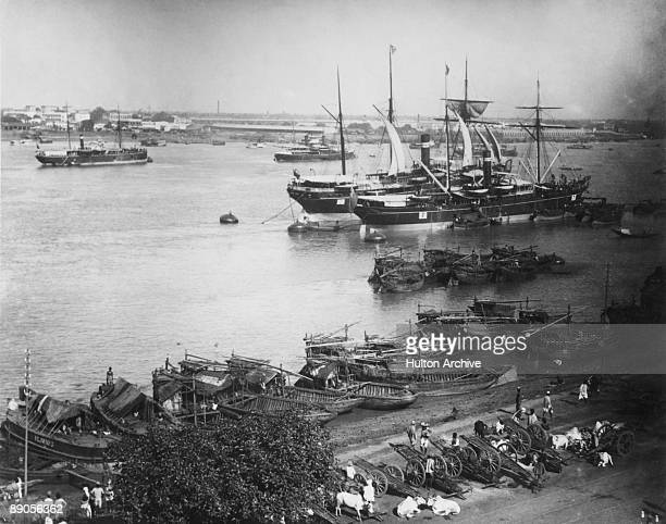 A view over the Hooghly river and the harbour in Kolkata India circa 1890
