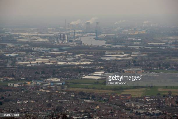 A view over the industrial area of Teeside and Middlesbrough from Eston Nab in North Yorkshire on February 8 2017 in Middlesbrough United Kingdom The...