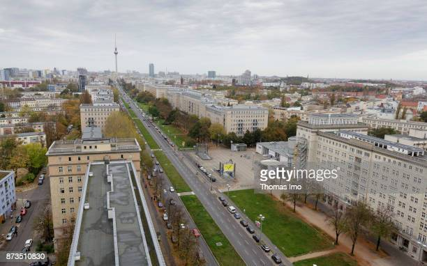 View over the KarlMarxAlle on the Berlin TV Tower and the Forum Hotel on October 21 2017 in Berlin Germany