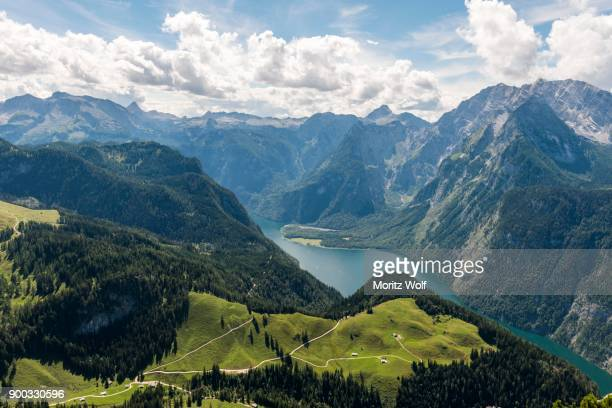 view over the koenigsee from the jenner, on the right watzmann, schoenau am koenigssee, national park berchtesgadener land, bavaria, germany - watzmann massif stock photos and pictures