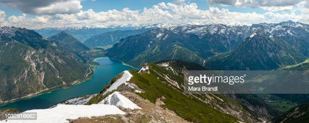 View over the lake Achensee from the hiking trail from the Seekarspitz to the Seebergspitz, Tyrol, Austria