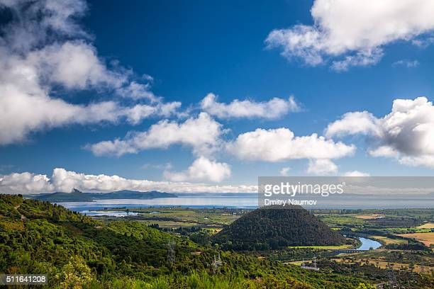 View over the Lake Taupo with Maunganamu hill and Tokaanu Power Station Tailrace canal in North Island New Zealand