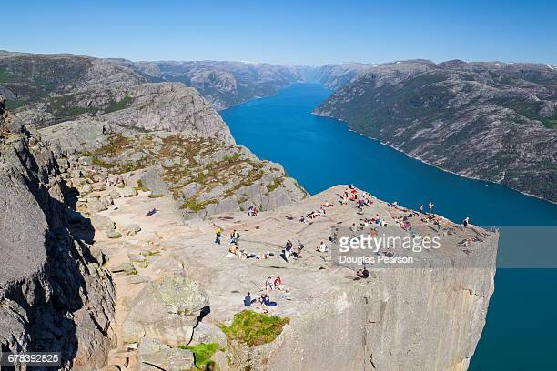 View over the Light Fjord from Preikestolen (Pulpit Rock), Light Fjord, Ryfylke, Rogaland, Norway, Scandinavia, Europe
