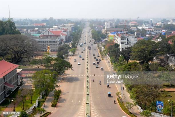 View over the main street, Avenue Lane Xang, Patuxai, Vientiane, Laos