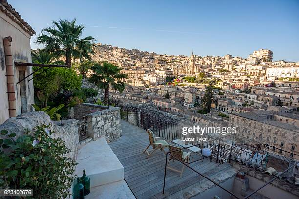 A view over the medieval town of Modica a Baroque UNESCO World Heritage listed town in Sicily from Casa Talia a boutique hotel