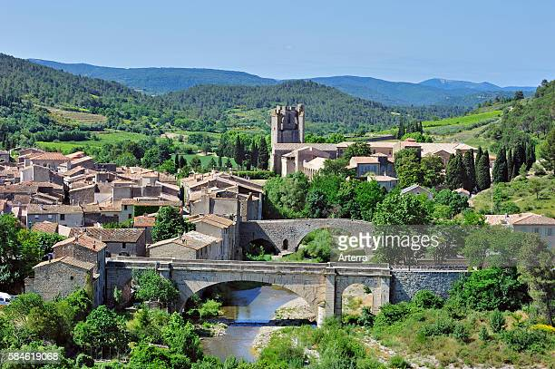 View over the medieval village and the Abbey of St Mary of Lagrasse / Abbaye SainteMarie de Lagrasse LanguedocRoussillon Pyrenees France