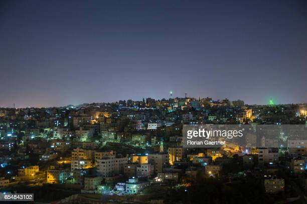 View over the nightly Amman capital of Jordan on March 12 2017 in Amman Jordan