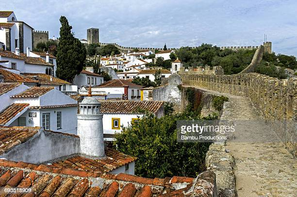 View over the old city and the ramparts, Obidos,