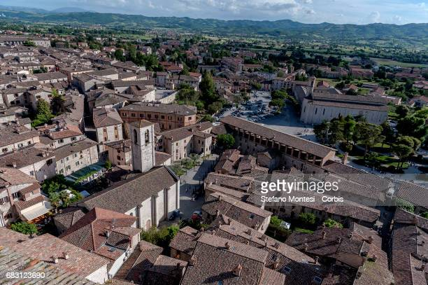 View over the Old town centre on May 14, 2017 in Gubbio, Italy.