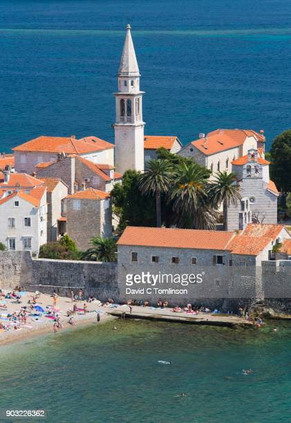 View over the Old Town from hillside, Budva, Montenegro