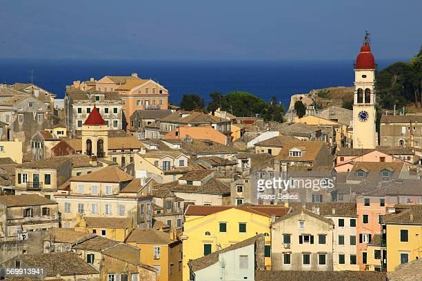 view over the old town of corfu, greece - frans sellies stockfoto's en -beelden