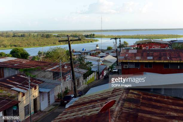 A view over the point Rio San juan flows into lake Nicaragua from the town of San Carlos The river connecting lake Nicaragua to the Atlantic...