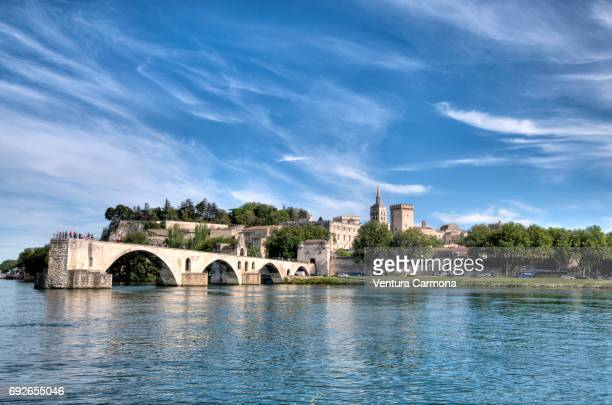 "view over the rhône river looking northeast, with the bridge pont saint-bénézet or ""pont d'avignon"". - rhone stock pictures, royalty-free photos & images"
