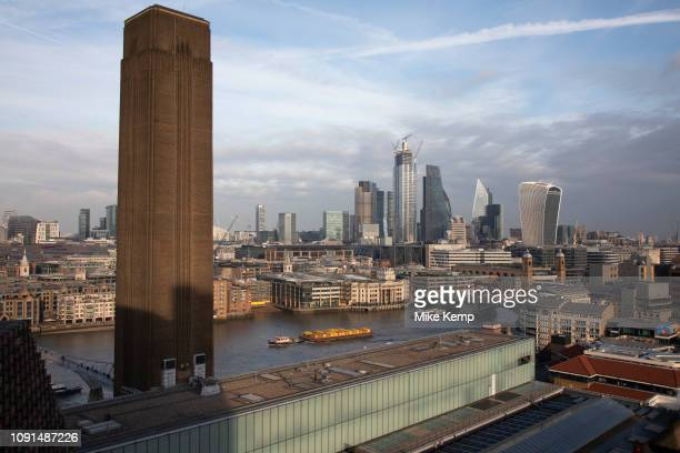 View over the River Thames and the City of London from the Blavatnik Building Viewing Level at Tate Modern art gallery in London England United...