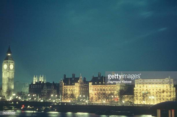 View over the River Thames during the Festival of Britain at night, with Big Ben on the left. Original Publication: Picture Post - 5340 - Festival At...