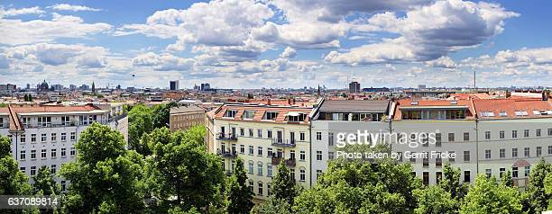 view over the roofs of berlin prenzlauer berg - prenzlauer berg stock photos and pictures