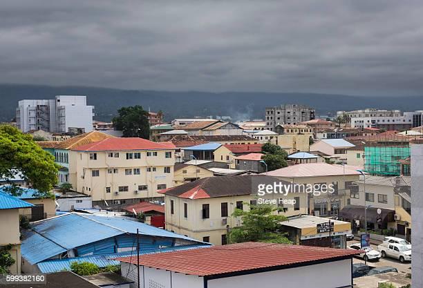 view over the rooftops of city of malabo, equatorial guinea - guinea ecuatorial fotografías e imágenes de stock
