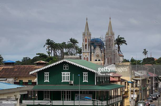 view over the rooftops of city towards the spanish colonial cathedreal church in malabo, equatorial guinea - malabo fotografías e imágenes de stock