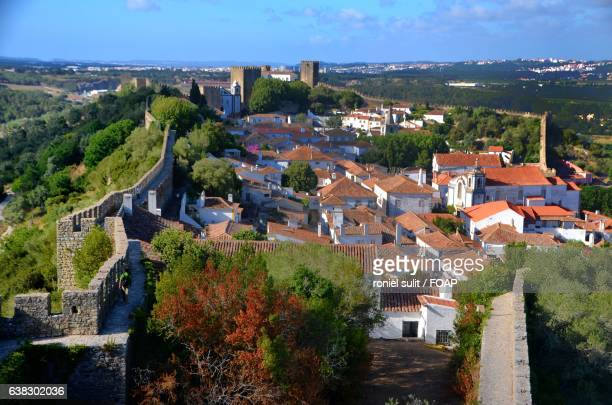 View over the rooftops of Obidos, Portugal