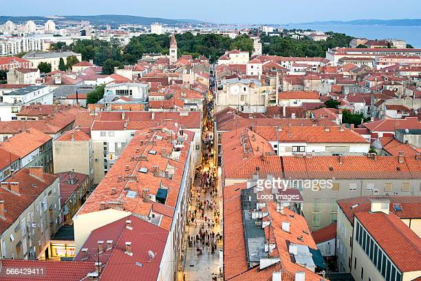 View over the rooftops of Zadar from the bell tower of the Cathedral of St Anastasia in Zadar on the Adriatic coast of Croatia