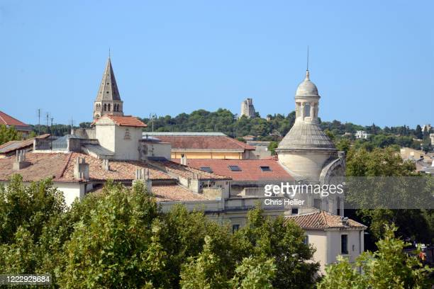 view over the rooftops or skyline of the historic district nimes - ガール県 ストックフォトと画像
