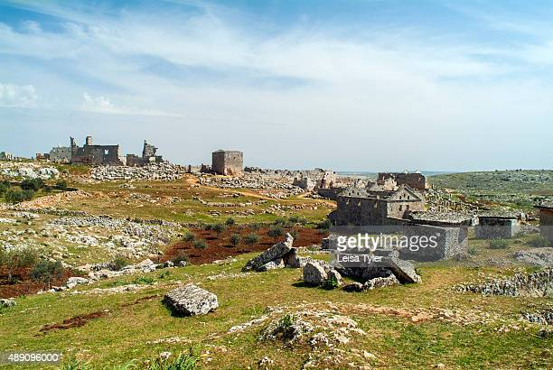 View over the ruined Byzantine town of Serjilla one of the 'Dead Cities' in northwestern Syria