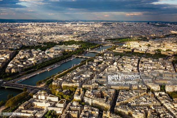 View over the Seine, Alexandre III bridge, the Grand Palais and the Le Louvre at sunset, Paris, France.