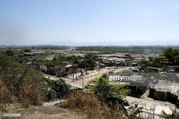 View over the slums of Gramacho in Rio de Janeiro Brazil 13 August 2016 Here hundreds of people live in simple wooden shacks without water the...
