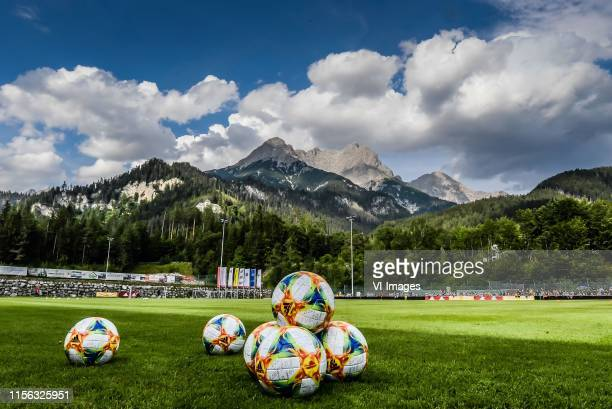 View over the stadium of Saalfelden during the Pre-season Friendly match between Ajax and Watford FC at Saalfelden Arena on July 18, 2019 in...